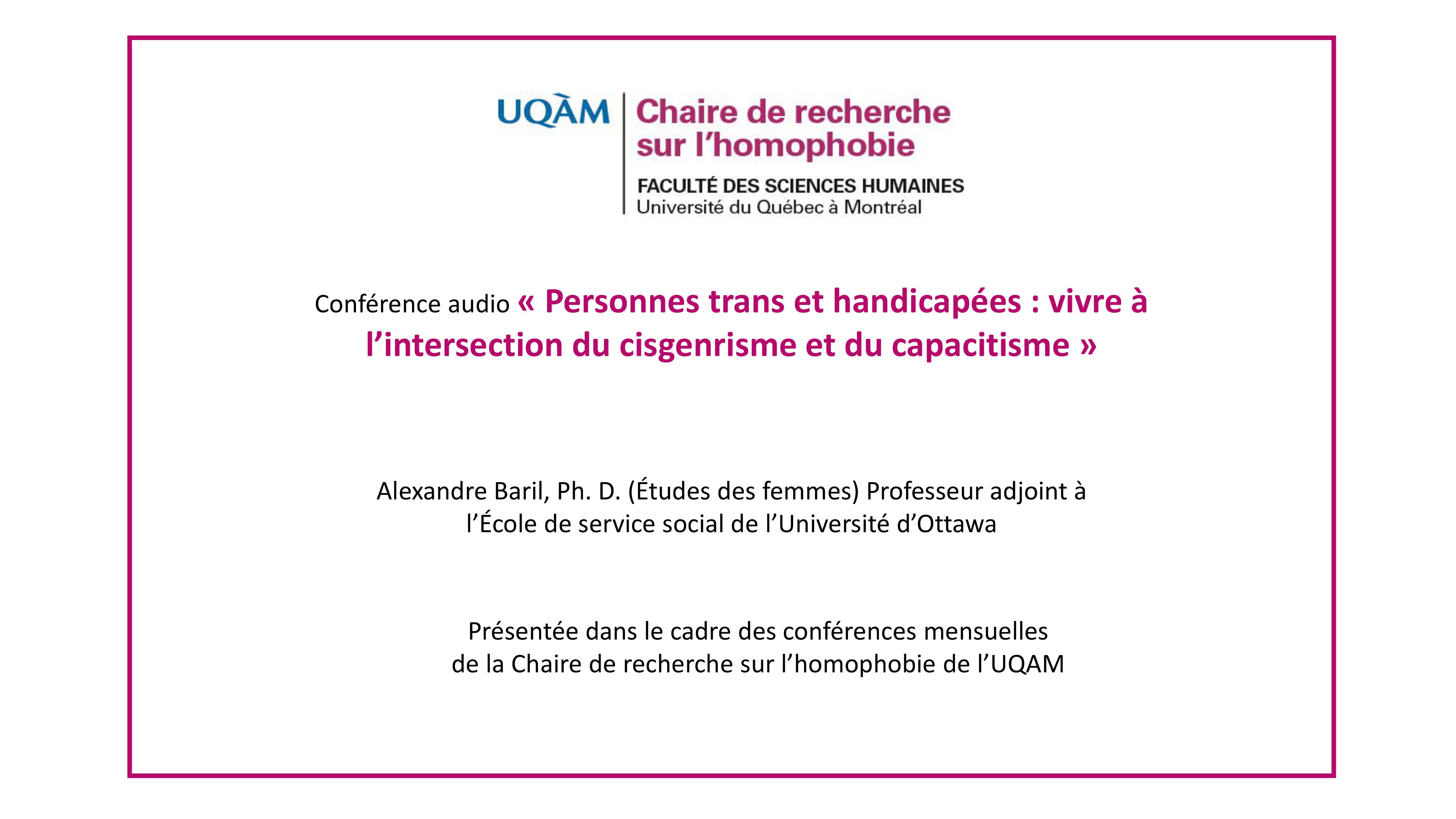 Conférence: «Personnes trans et handicapées: vivre à l'intersection du cisgenrisme et du capacitisme» (audio)