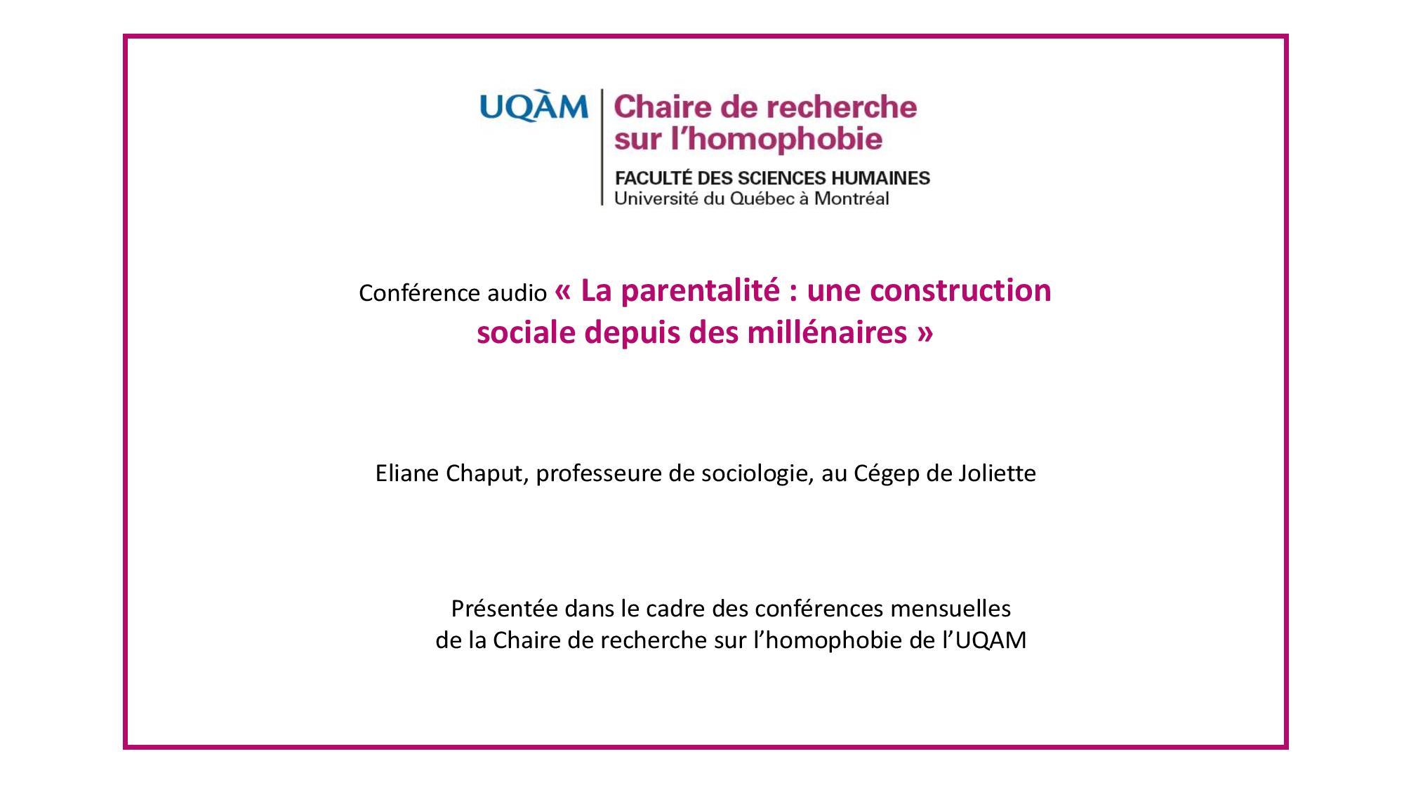 Conférence: «La parentalité : une construction sociale depuis des millénaires»