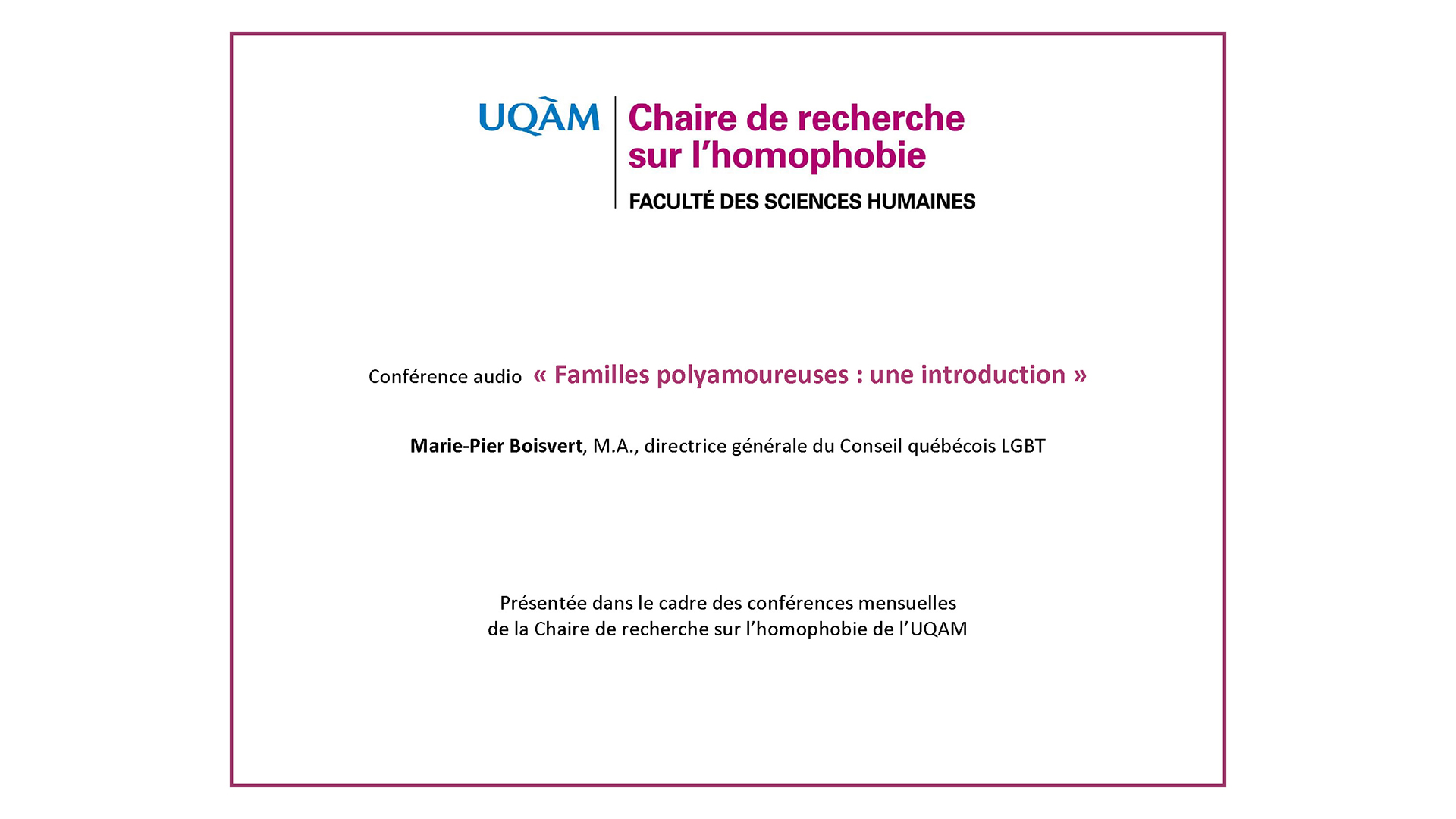 Conférence: «Familles polyamoureuses: une introduction» (audio)