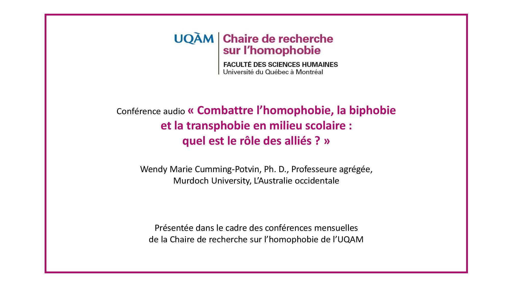Conférence: «Combattre l'homophobie, la biphobie et la transphobie en milieu scolaire: quel est le rôle des alliés ?»