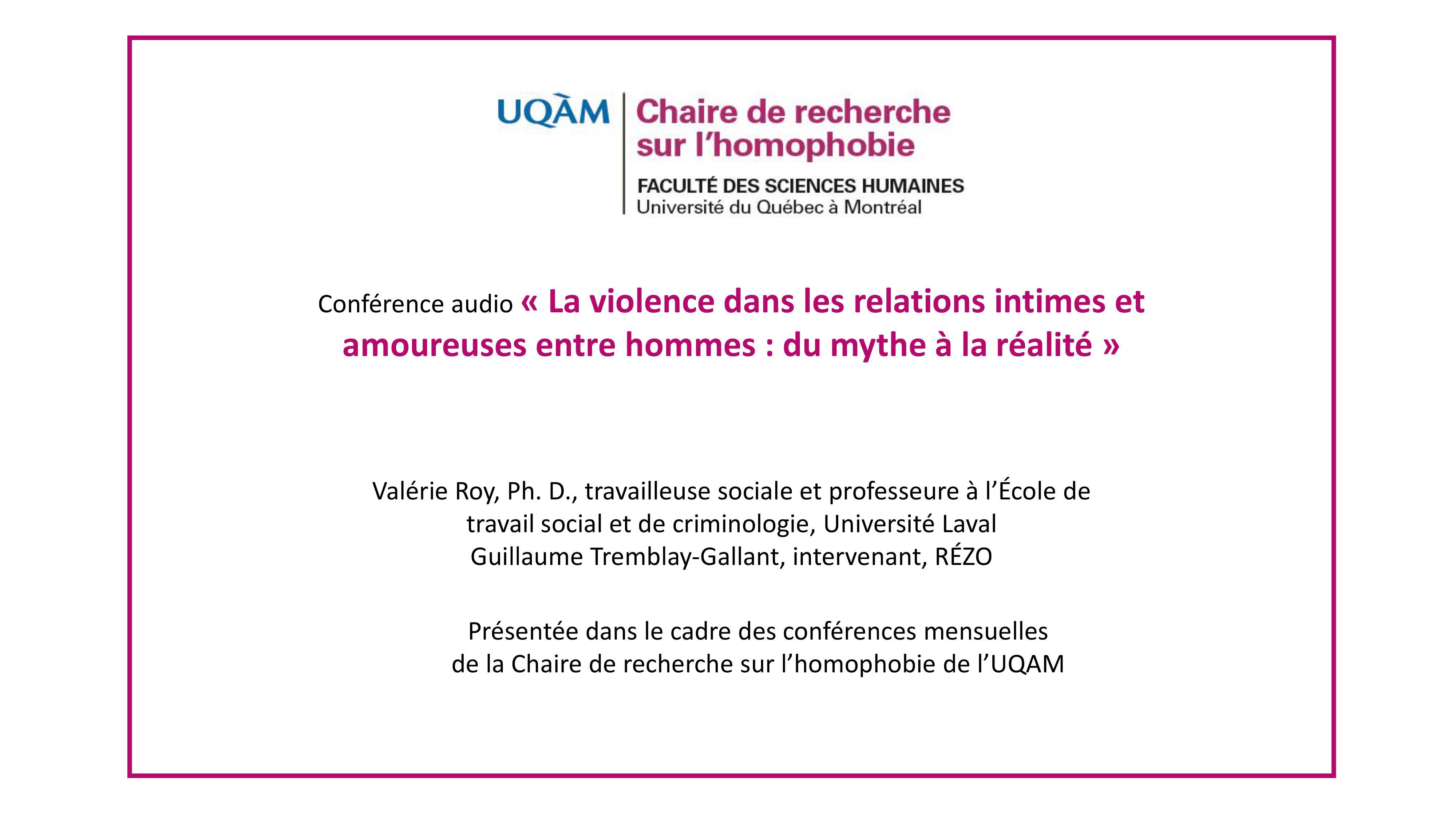 Conférence: «La violence dans les relations intimes et amoureuses entre hommes: du mythe à la réalité»
