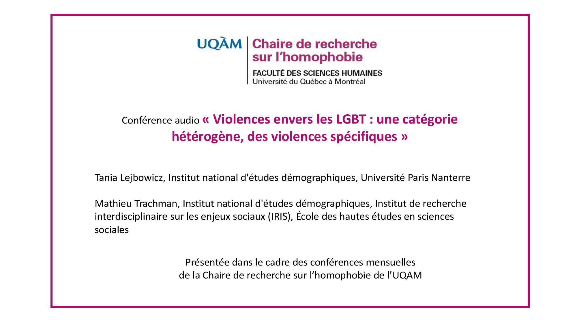 Conférence: «Violences envers les LGBT : une catégorie hétérogène, des violences spécifiques»