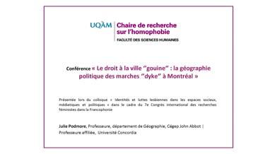 Conférence: «Le droit à la ville «gouine»: la géographie politique des marches «dyke» à Montréal» (audio)
